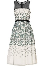 Mikael Aghal Belted Printed Washed Organza Dress Multi