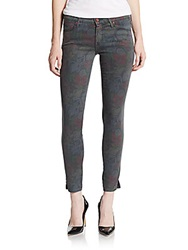 Mother The Vamp Floral Print Skinny Jeans Ghost