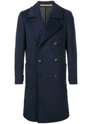 Paul Smith Ps By Classic Double Breasted Coat Blue