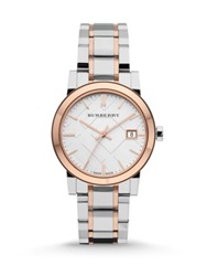 Burberry City Two Tone Stainless Steel Bracelet Watch 34Mm Silver Rose Gold