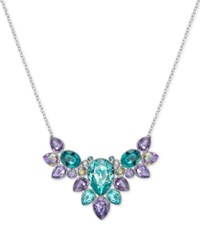 Swarovski Silver Tone Aqua And Purple Crystal Statement Necklace