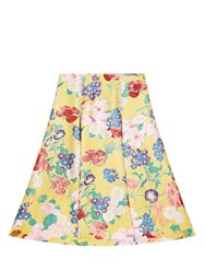 Valentino A Line Floral Jacquard Skirt Yellow