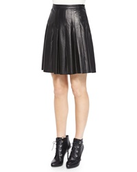 Belstaff Pleated Leather A Line Skirt