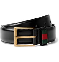 Gucci 3.5Cm Black Webbing Trimmed Leather Belt Black