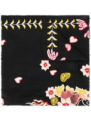 Temperley London Rosy Embroidered Shawl Black