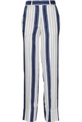 Protagonist Striped Silk Twill Wide Leg Pants White