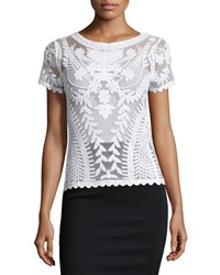 Dex Short Sleeve Mesh Top W Embroidery White