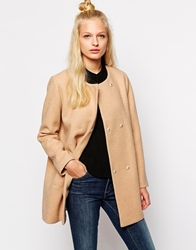 Monki Collarless Coat Camel