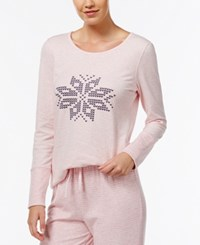 Nautica Reversible Snowflake Pajama Top Pink Heather