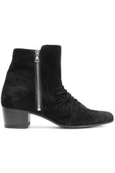Amiri Woman Ruched Suede Ankle Boots Black