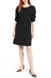 Halogen Ruched Sleeve Crepe Dress