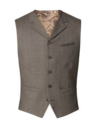 Gibson Men's Taupe Brushed Check Waistcoat Taupe