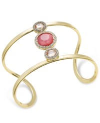 Inc International Concepts Gold Tone Stone And Pave Openwork Cuff Bracelet Only At Macy's Pink