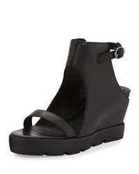 Max Studio Zine Hidden Wedge Platform Sandal Black