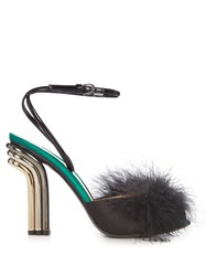 Marco De Vincenzo Feather Embellished Mid Heel Sandals Black
