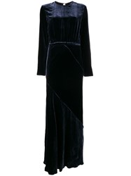 Aspesi Open Back Long Dress Blue
