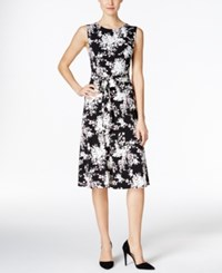 Charter Club Floral Print Fit And Flare Dress Only At Macy's Deep Black Combo