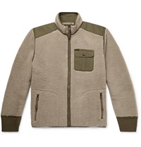 Rrl Ripstop Panelled Fleece Jacket Neutrals