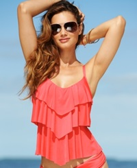 Kenneth Cole Reaction Tiered Ruffle Tankini Top Women's Swimsuit Hot Coral