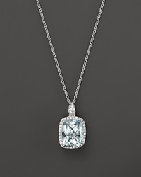 Bloomingdale's Aquamarine And Diamond Pendant Necklace In 14K White Gold 18 Blue White