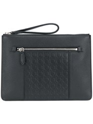 Salvatore Ferragamo Logo Embossed Pouch Black