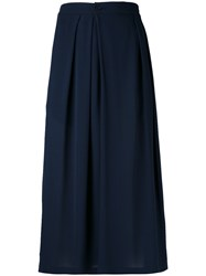 Vince Pleated Wide Legged Cropped Trousers Women Silk S Blue