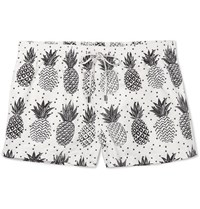 Dolce And Gabbana Slim Fit Mid Length Pineapple Print Swim Shorts White