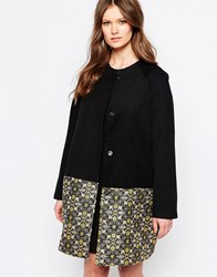 Traffic People Great Divide Coat With Jacquard Hem Black