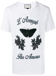 Gucci Embroidered Butterfly T Shirt White