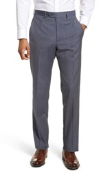 Santorelli Flat Front Check Wool Trousers Blue