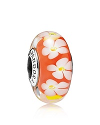 Pandora Design Pandora Charm Murano Glass And Sterling Silver Tropical Flower Moments Collection Silver Orange