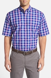 Cutter And Buck 'Morgan Plaid' Traditional Fit Short Sleeve Sport Shirt Blue Multi