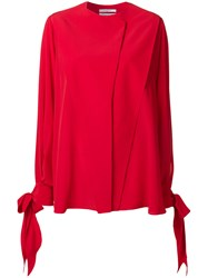 Givenchy Bow Tied Sleeve Blouse Silk Red