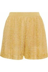Missoni Woman Metallic Crochet Knit Shorts Marigold