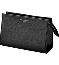Aspinal Of London Medium Lizard Embossed Leather Cosmetic Case Black