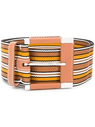 Loro Piana Striped Belt Brown