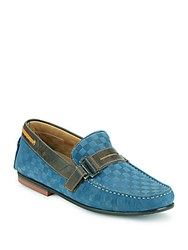 Bacco Bucci Altieri Checked Leather Penny Loafers Navy