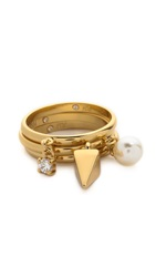 Rebecca Minkoff Imitation Pearl And Crystal Charm Ring Set Gold Pearl Clear