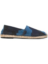 Valentino Denim Espadrilles Men Cotton Leather Rubber 42 Blue