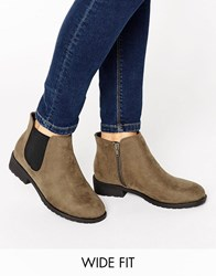 New Look Wide Fit Suedette Ankle Boot Green