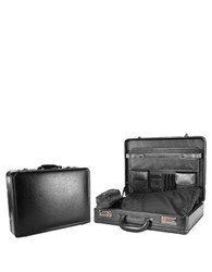 Kenneth Cole Reaction Lock And Roll Leather Attache Case Black