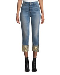 Black Orchid Taylor High Rise Straight Leg Jeans W Foiled Hem Blue Gold