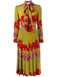 Gucci Floral Print Dress Yellow And Orange