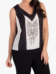 Chesca Contrast Embroidered Camisole Black Ivory
