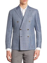 Saks Fifth Avenue Double Breasted Coat Blue