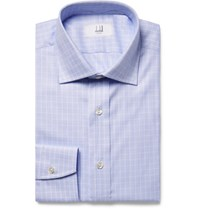 Dunhill Blue Slim Fit Cutaway Collar Checked Cotton Shirt Light Blue