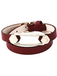 Tod's Metal Pin Wrap Bracelet Red