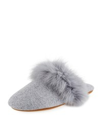 Neiman Marcus Cashmere Fox Fur Trim Mule Slippers Soft Charcoal Gre