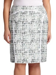 Lafayette 148 New York Plus Size Sylvana Pencil Skirt Frosted Mint Multi