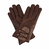 Gizelle Renee Catherinedark Brown Leather Gloves With Brown Speckle Wool